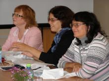 Ведущие специалисты ГПИБ России: Е.А. Ястржембская, О.В. Динеева, И.В. Майорова (слева направо)